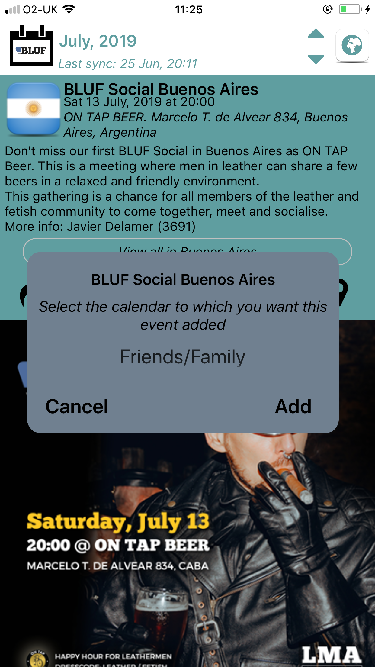 Adding an event to your personal calendar